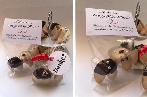 Glückskekse mit Schokolade in Geschenkverpackung