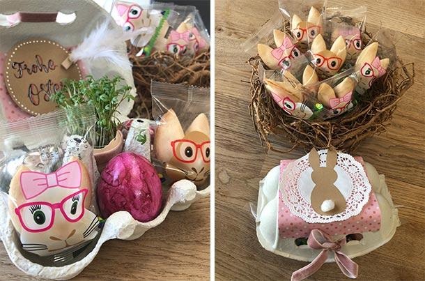 Osterglückskekse im Eierkarton mit Dekoration