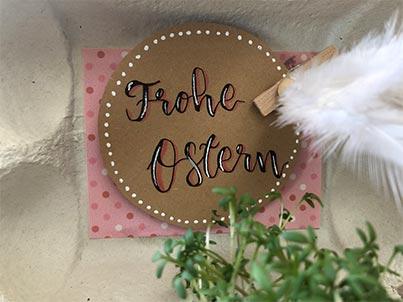 Ostern im Eierkarton Frohe Ostern Schriftzug