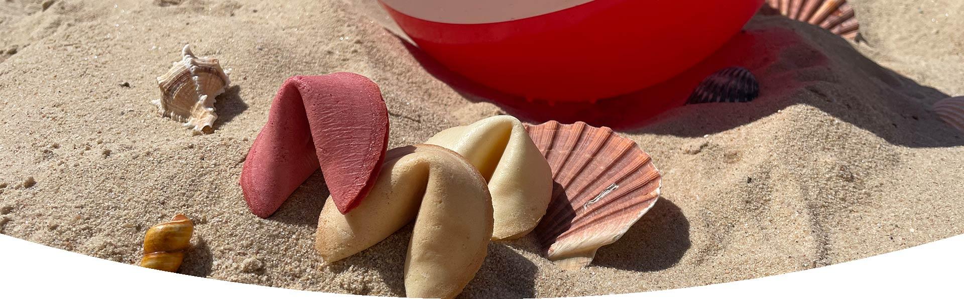Fruchtige Sommer-Glückskekse im Sand mit Muscheln und Wasserball