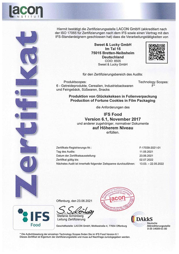 IFS Zertifikat 2021